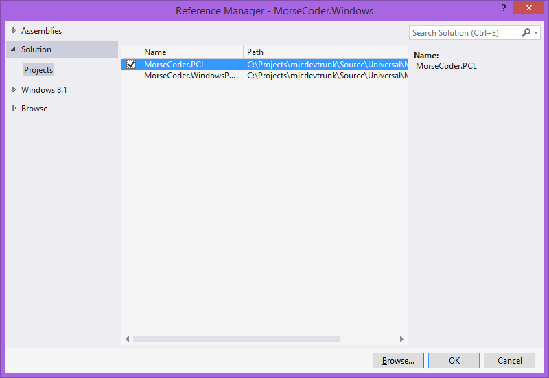 Add Reference to our PCL Project in Visual Studio