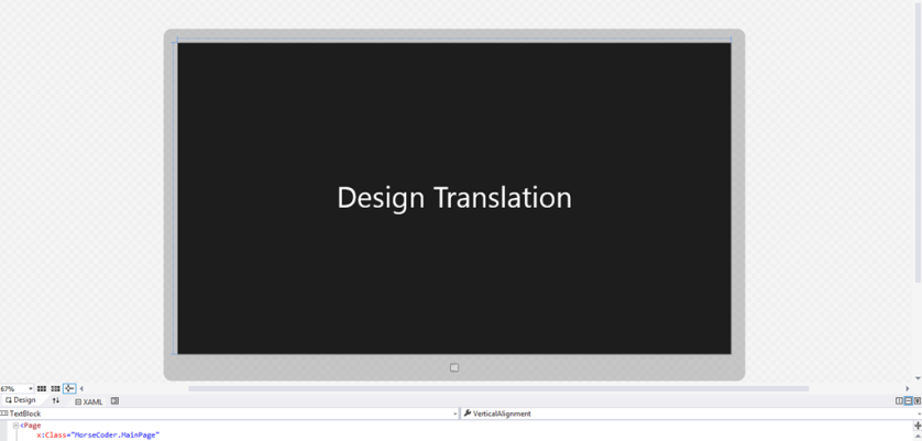 "Design Time ViewModel showing ""Design Translation"""