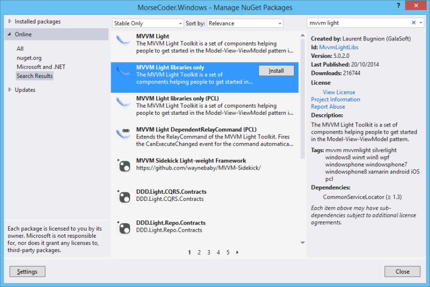 MVVM Light Libraries Only NuGet Package Manager