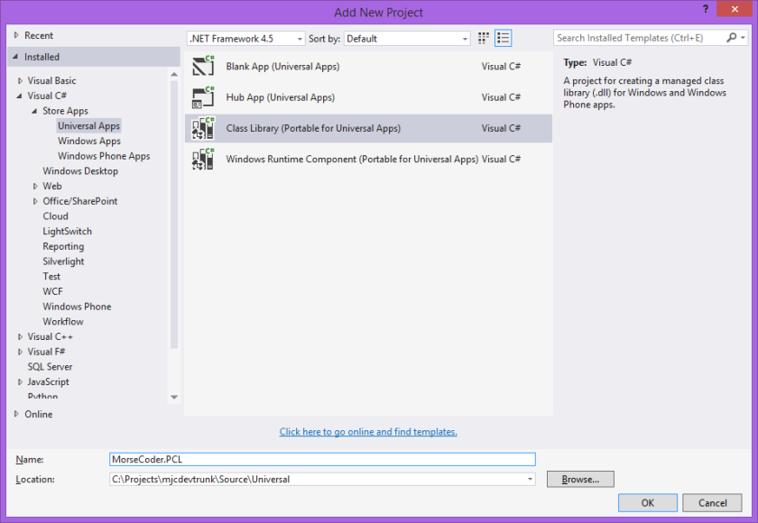 Add New PCL Project in Visual Studio