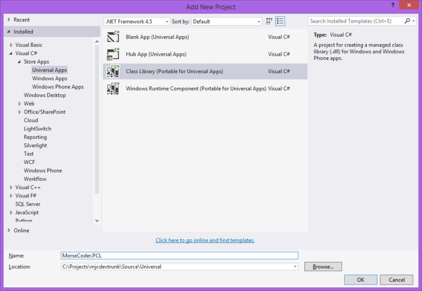 Add New PCL Project in Visual Studio