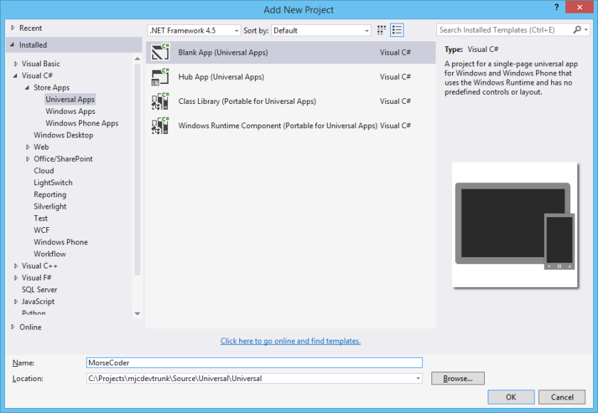 Project Creation in Visual Studio