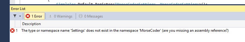 The type or namespace name 'Settings' does not exist...