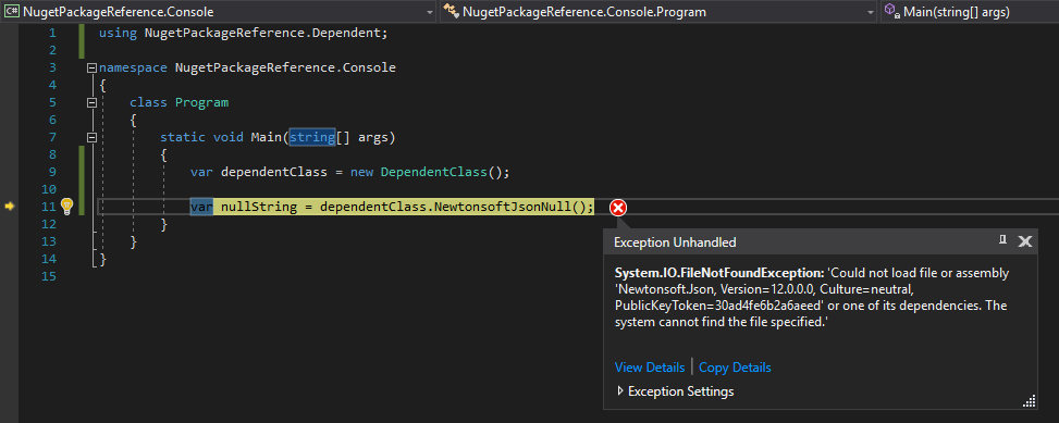 Local Project with Nuget Package References – System.IO.FileNotFoundException